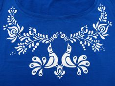 HAND PAINTED hungarian FOLK art blue T-Shirt with white birds and flowers…