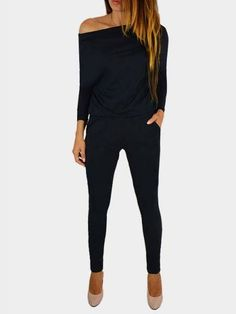 This soft jumpsuits worth freaking out over. This jumpsuits features a wide round neck , long sleeves and side pocket details, slouchy silhouette. Pair it with high heels would be great. If you like, you can also wear it as one shoulder or off shoulder.