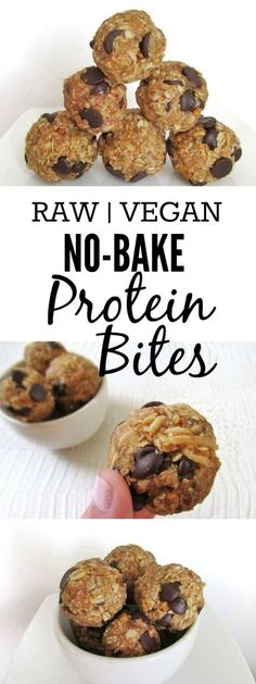 No-Bake Protein Bites (Raw, Vegan) - A great pre-workout snack packed with protein from oats, peanut butter and chia seeds!