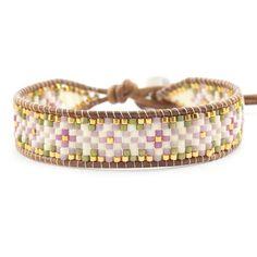 Best Bracelet Perles 2017/ 2018 : Pink Mix Beaded Single Wrap Bracelet on Natural Brown Leather