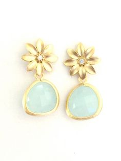Floral Crystal Gold Post Earrings with Alice Blue Drop