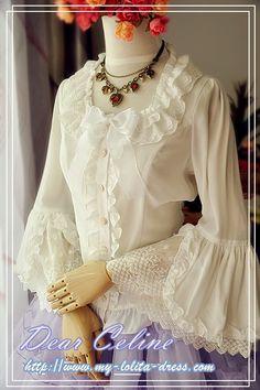 Dear Celine Chiffon Hime Sleeves Lolita Blouse: http://www.my-lolita-dress.com/dear-celine-chiffon-hime-sleeves-lolita-blouse-dc-37