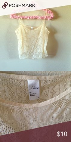 American apparel lace cami top crop Beige/nude cami from AA. Like new. One size. American Apparel Tops Camisoles