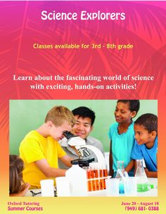 Take part in the exciting world of science with hands-on, interactive classes in our Science Explorer class. It's not too late to sign up! (949) 681-0388. #classes #summertime #oxfordtutoring