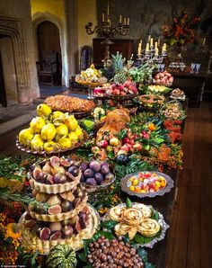 """Poldark food stylist reveals agony and ecstasy of recreating an century feast 21 best secret garden party theme ideas for amazing wedding party 00042 Related """"If anyone caught me talking on today's about feasts, here's the harvest festival table for you Party Platters, Party Buffet, Food Platters, Cheese Platters, Cheese Table, Medieval Party, Grazing Tables, Food Displays, Buffets"""