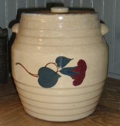 1930s Red Wing Morning Glory Cookie Jar - Spaulding's Cookies Crock. RubyLane $76