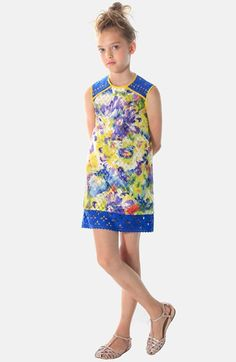 Free shipping and returns on Alivia Simone 'Marni' Shift Dress (Little Girls & Big Girls) at Nordstrom.com. Lacy, laser-cut neoprene details a fashionable shift dress styled in a bold, bright floral print.