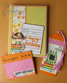 Your Next Stamp Supplies: Stamps: Birthday Phoebe, Overdue Library card, Silly Monsters, Tear Away Tab Sentiments Two Dies: Big Birthday Balloon, Bookmark/tag,  Medium Tear Away Tab die  Other Supplies Paper: Simple Stories Sunshine and Happiness