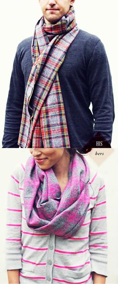 His & Hers: DIY Flannel Scarves | In Honor Of Design