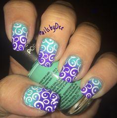teal/purple ombré nails