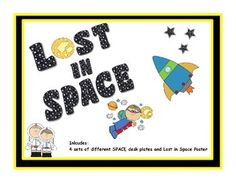 Solar System Desk Tag set Inlcudes:4 different sets of SPACE desk plates and Lost in Space Poster