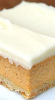 {Friends First with Whipped} Pumpkin Cheesecake Bars Holiday Desserts, Just Desserts, Holiday Recipes, Pumpkin Cheesecake Bars, Cheesecake Recipes, Pumpkin Bars, Flan, Pumpkin Dessert, Savoury Cake