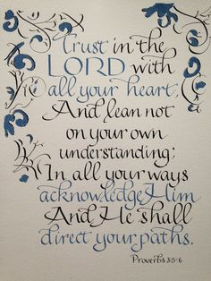 Proverbs 3:5  6   Hand Lettered Original NOT A by Biblecalligraphy