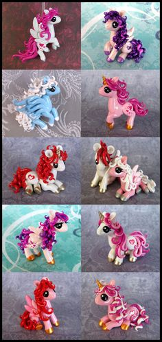Here they are! I managed to get a batch of valentine ponies done. I'll be putting them all up on etsy tomorrow (Sunday Feb 2nd) at 6 pm California time (pacific) The two pegasi in flight were reall...
