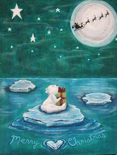 For Sale: merry christmas polar bear - acrylic on canvas, polar bear realizes Santa left him a x-mas gift amid the stars and northern lights! Garage Sale App, Virtual Garage Sale, Office Mural, Mural Ideas, Light Painting, Caricatures, Polar Bear, Northern Lights, Merry Christmas