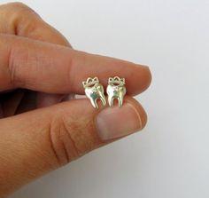 Sterling Silver Teeth Stud Earrings Dentist by VorobjewStudio