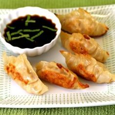 Chicken potstickers. Love a good potsticker, chicken are my favorite. Just make sure they aren't undercooked. They need to be crispy at the edges.