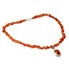 "NOVICA Carnelian .925 Sterling Silver Beaded Necklace, 17.75"" 'Flame of Love'. An original NOVICA fair trade product in association with National Geographic. Includes an official NOVICA Story Card certifying quality & authenticity. NOVICA works with Mahavir to craft this item. Includes an original NOVICA jewelry pouch to keep for yourself or give as a gift. A keepsake treasure designed to be loved for years to come."