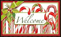 "Candy Canes MatMate.  Can be used stand-alone or as interchangeable inserts in our MatMates™ outdoor decorative tray or indoor Comfort Tray™ (as shown, sold separately). Non-slip recycled rubber backing. Approx. 18"" x 30"". Weatherproof for outdoor use. #candycanes #Christmas #doormat #welcome"