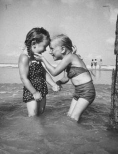 Hi friend! girls swimming sea play