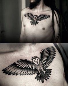 Owl chest tattoo by Kamil Czapiga