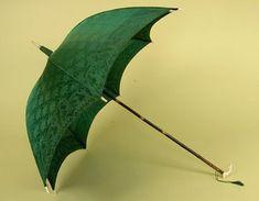 Green Silk & Bamboo Parasol, Mid 19th C. -