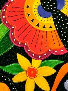 Very whimsical. by Laura Wasilowski  Kind of like a Laurel Burch's work