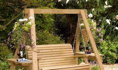 Charming simple wooden garden swing Garden Swings: The Enchanting Element in Your Backyard Wooden Garden Swing, Garden Swing Seat, Bench Swing, Wooden Swings, Porch Swing Frame, Wooden Swing Frame, Garden Pallet, Pergola Garden, Swing Chairs