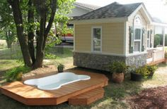 tiny house, tiny house with a pool for the dogs