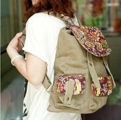 Vintage Floral Ethnic Canvas Backpack