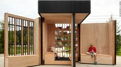 This mobile book exchange, conceived by Atelier Kastelic Buffey was built in 2015 in Newmarket, Canada. At night, the wooden walls are folded up into a rectangular box.
