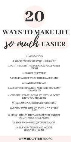 20 Ways To Simplify Your Life & Be Happier – Beauty Bites 20 ways to make your life so much easier! Healthy daily habits to start morning routine Good Habits, Healthy Habits, Healthy Quotes, Healthy Mind, Get Healthy, Vie Motivation, Self Care Activities, Goal Setting Activities, Self Improvement Tips
