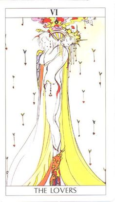 The Lovers from the Amano Tarot - http://www.amazon.com/Amano-Tarot-Deck-Happiness-Fortune-Telling/dp/4415074383/ref=sr_1_1?s=books&ie=UTF8&qid=1385349008&sr=1-1&keywords=amano+tarot