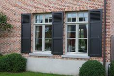 Window Shutters Exterior, Steel Windows, The Ranch, Facade, Brick, Decoration, Sweet Home, Villa, Doors