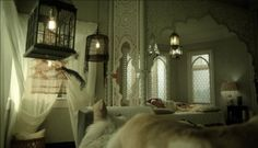 """Favorite TV set bedroom ever! Wendy Beauchamp in """"Witches of East End"""". Love the all-white Moroccan inspiration."""