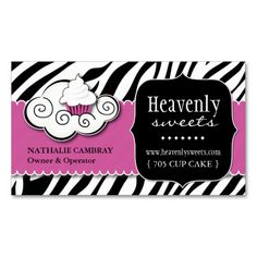 Bold Zebra Print Bakery Business Card. I love this design! It is available for customization or ready to buy as is. All you need is to add your business info to this template then place the order. It will ship within 24 hours. Just click the image to make your own!