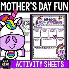 Choose from the full-color or black & white version of this Mother's Day + unicorn-inspired printable! Students can enjoy interviewing their mothers and archiving their answers. There is also a space to draw a favorite activity. Great for bulletin board displays! Activity Spaces Include: 01.