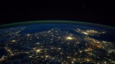 """Paris in the middle with London on the horizon to the right."""" --Astronaut Reid Wiseman from the International Space Station. Earth And Space, Earth At Night, Cool Photos, Beautiful Pictures, Amazing Photos, Earth Photos, Photo Caption, Local Events, Planet Earth"""