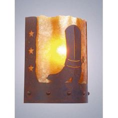 Steel Partners Spur of the Moment Timber Ridge 1-Light Wall Sconce Shade Color: Slag Glass Pretended, Finish: Mountain Brown