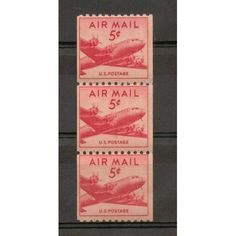U.S. scott # C37 - 5¢ DC-4 Skymaster Coil strip of 3 stamps MLH on 1 OG