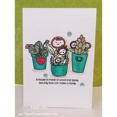 Mama Elephant Potted Pretties copic coloured and watercoloured and sentiment by Simon says stamp Make a Home.  Made by Rachel Vass