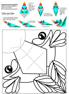 Origami Hummingbird – color your own – Bird Supplies Origami Hummingbird, Hummingbird Colors, Origami Boot, Origami Paper, Bird Crafts, Animal Crafts, Foam Crafts, Art For Kids, Crafts For Kids