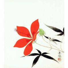 """Pregiata pittura su shikishi (色紙) dedicata al mese di luglio, realizzata nei laboratori artistici della Otsuka Kogeisha (大塚巧藝社) di Kyoto, riproduzione di un'opera del pittore Gakuryo Nakamura (中村岳陵) intitolata """"Ibisco coccineo"""" (紅蜀葵) e in cui vediamo raffigurato un grande fiore a cinque petali, di colore rosso scuro. La fioritura dell'ibisco coccineo si protrae da giugno fino ai primi freddi autunnali e in Giappone tale pianta viene indicata anche con i kanji """"momijiaoi"""" (紅葉葵)... (continua)"""
