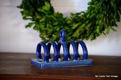Blue and white ironstone toast holder on Etsy, $12.00