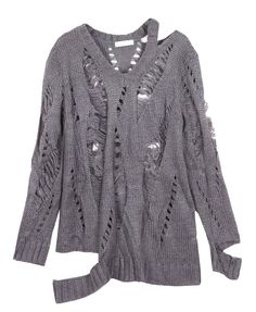 Street Fashion Pure Color Cutout Knitwear With Long Sleeves