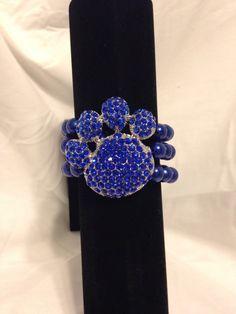 Beaded Paw Print Stretch Bracelet