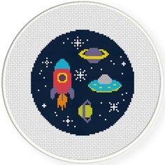 Free Space Adventure Cross Stitch Pattern. #cross_stitch #patterns