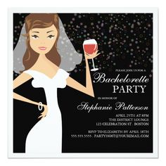 Custom Modern Bride Wine Bachelorette Party Invitation created by kat_parrella. This invitation design is available on many paper types and is completely custom printed. Made in 24 hours. Cocktail Party Invitation, Bachelorette Party Invitations, Bridal Shower Invitations, Brunette Bride, Wine Parties, Create Your Own Invitations, Modern, Party Wedding, Dream Wedding
