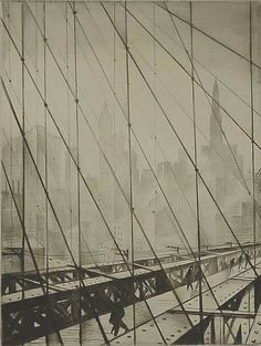 C. R. W. Nevinson, Looking through the Brooklyn Bridge, c. 1920