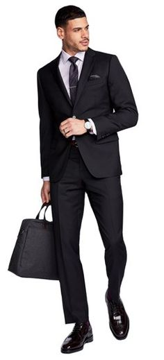 Shop for custom men's wedding suits and tuxedos. Find information on wedding suits & tuxedos for the best man, the groomsmen & the whole wedding party. Book an appointment for your wedding party to visit an INDOCHINO showroom and create your custom suits. Business Professional Attire, Business Fashion, Black Suits, Gray Suits, Black Tie, Slim Fit Khakis, Charcoal Suit, Poses For Men, Formal Suits